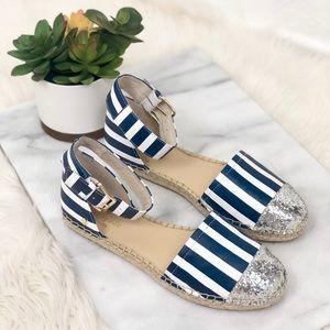 Kate Spade striped navy blue espadrilles sandals